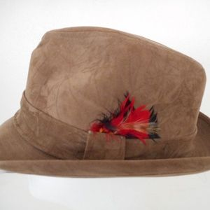 Vintage Brown Suede like Fedora style hat Size S